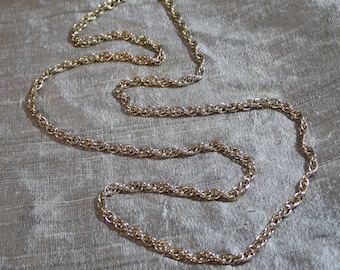 Vintage Flapper Length Gold Tone Corded Chain