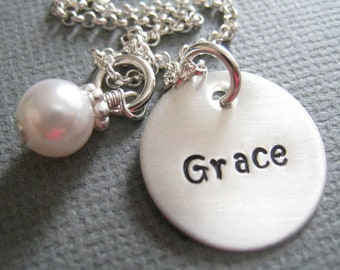 Custom Hand Stamped Necklace - Personalized Sterling Silver Mommy Jewelry - Name & Pearl
