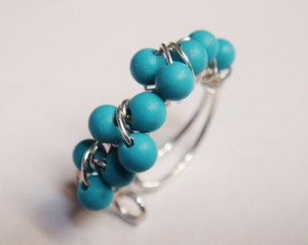 Turquoise Ear Cuff   Turquoise Gemstone Wire Wrap Ear Cuff   Sterling Silver Ear Wrap   December Birthstone