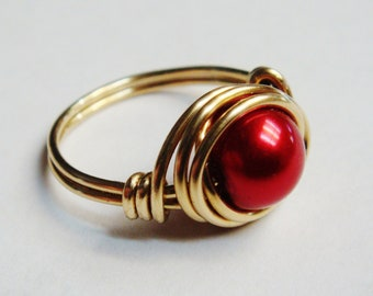 Red Ring  Pearl Ring  Gold Ring  14k Gold Filled Ring  Red Glass Pearl Ring   Wire Wrapped Ring