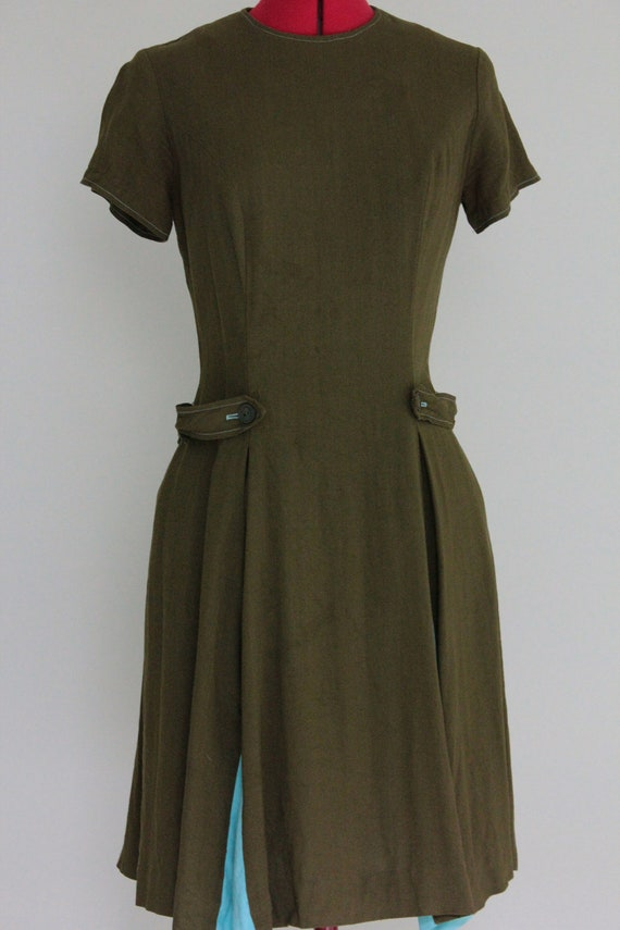 Vintage Dress Green Blue Pleats Button Tab Belt -Reserved-