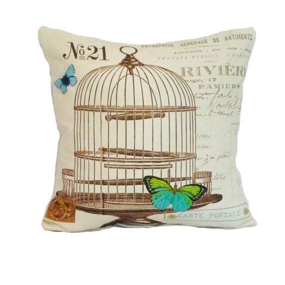 Butterfly pillow cover birdcage throw pillow paris french script 18x18 linen graphic france decor