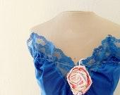 SALE SALE Dark blue upcycled vintage slip dress, sleeveless, strapless, size small medium