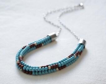 Native American Aztec Print Woven Beadwork Collar Choker Necklace - Turquoise/Terra Cotta/Silver