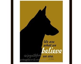 German Shepherd Art Wall Decor Inspirational C.S. Lewis Quote  5 x 7 Matted