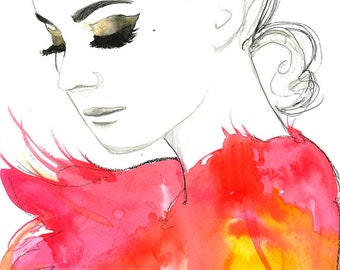 Print from original watercolor fashion illustration by Jessica Durrant titled Golden Eye