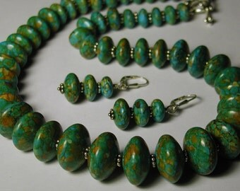 Sterling Silver Earthy Green Blue Necklace Earring Set 2 piece Dyed Magnesite Stone 925