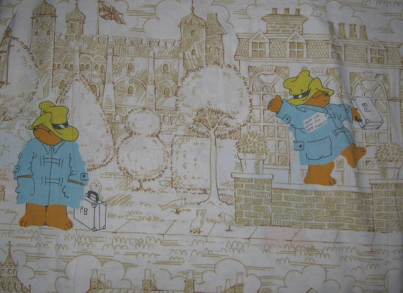 Vintage  Paddington Bear    twin Flat bed  Sheet  reclaimed fabric