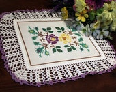 Purple and Yellow Flower doily