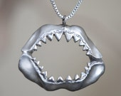 Shark Jaw Necklace, Sterling Silver, Handcrafted, Shark Week, Jaws, Skull, Great White, Unisex, Shorter Chain. - LUCIUSjewelry