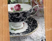 LACEY LADY Tea Time Note Card Royal Albert Vintage Tea Cup & Saucer, Senorita Black Lace, Bone China, White, Rose, Gold Rimmed, Still Life