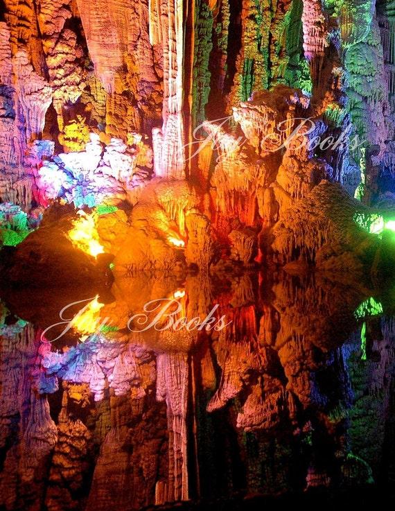 REFLECTIONS OF WONDER Note Card Cave in China, Yellow Orange Pink Green Blue Purple White Stalactites Stalagmites Underground Spelunking