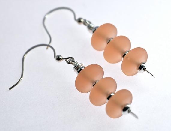 Sale sterling silver seaglass style lampwork earrings pink champagne fashion drop earrings frosted glass earrings by Paulbead