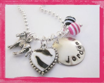 Girls Necklace personalized ZEBRA Hand Stamped Charm Necklace  - ZEBRA - Personalized Jewelry for girls #f143