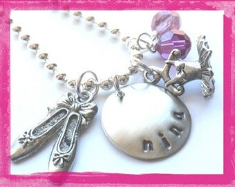 Hand Stamped Charm Necklace -Ballet- Slippers and Tutu Necklace Dance for Girls #D14