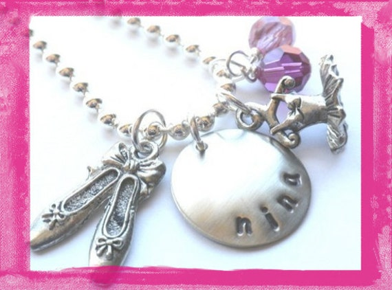 Hand Stamped Charm Necklace -Ballet- Slippers and Tutu Necklace