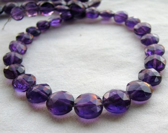 Amethyst Faceted Coins, 8 inch strand,  (11k19)