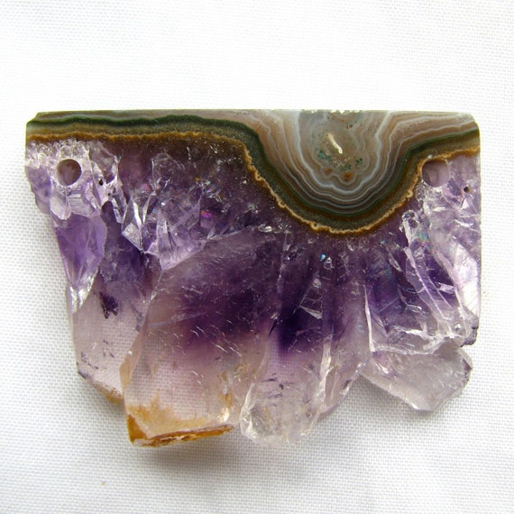 Amethyst Crystal Slice, double drill rectangle, 42.5 x 32 x 7.5mm (6e5)