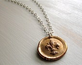fleur de lis necklace : wax seal vintage style rustic mixed metal . handcrafted bronze, sterling silver