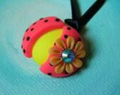 SALE Neon PinK & YeLLow LadyBug Pendant