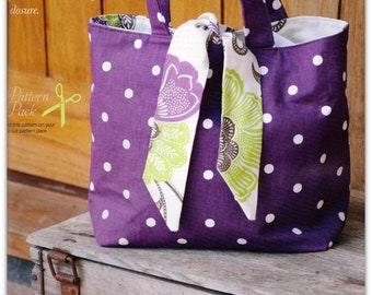 PDF Reversible Contrast Tied Tote Bag
