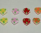 Heart cake cabochons - 16 pcs
