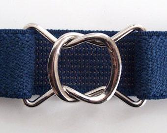 Retro 80s-style Navy Blue Elastic Belt