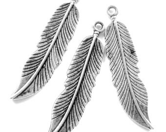 8 Feather charms antique silver pendants 45mm 11m jewelry making supplies