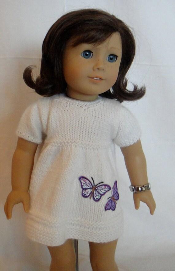 Dress White Doll Butterflies Purple American Girl Doll