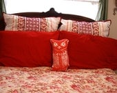 Vintage Screen Printed Owl Pillow in Brightest Red Velveteen