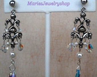Sterling Silver Chandelier Earrings with Swarovski Crystal AB and Pearls