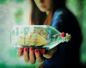 Ship in a bottle photograph, 20x30cm print, 8x12 print, surreal, dreamy, ethereal - dianadebord