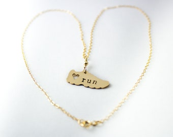 I love running Necklace, gold fill. Marathon necklace, runners jewelry