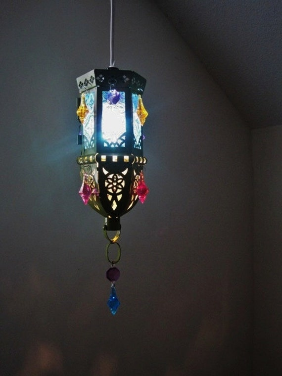 Moroccan Style Mini Gypsy Mutli-Colored Electric Lantern MADE TO ORDER