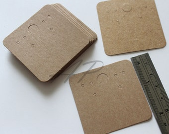 "50 pcs of Blank Earrings Paper in Brown Kraft Paper for Accessories Jewelry(2"" X 2"")"