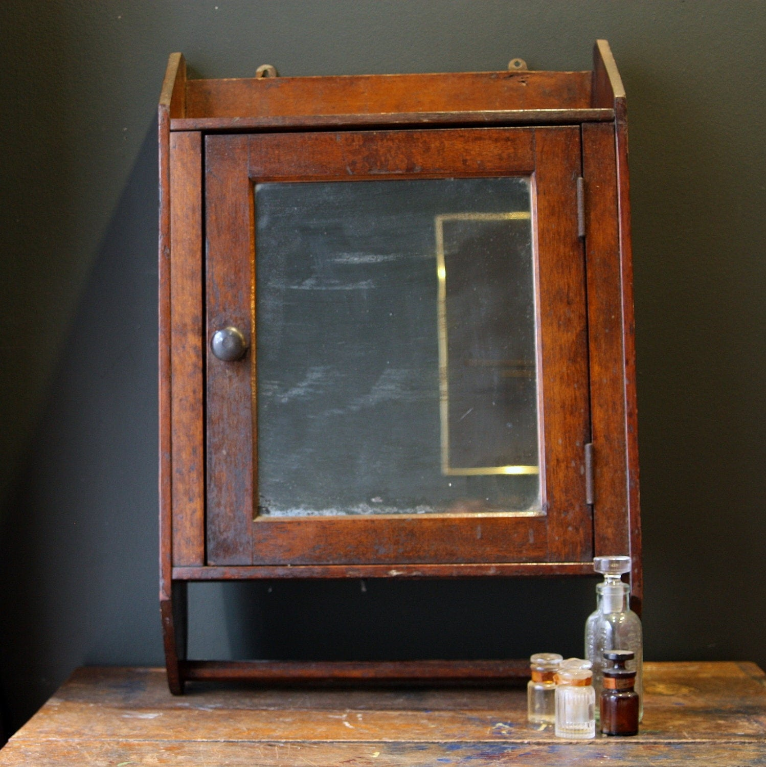 Antique Oak Medicine Cabinet with Towel Bar