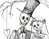 Day of the Dead, Skeleton wedding, pen and ink drawing, Giclee Print, Skeleton Bride, Groom Gift, Halloween wedding, gothic decor