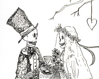 Pen and Ink drawing, Skeleton Wedding, day of the dead, ink illustration, Bride and Groom, Giclee Print
