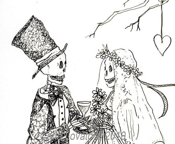 Skeleton Wedding day of the dead ink illustration Bride and