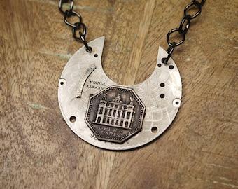 Steampunk Necklace Vintage Elgin Pocket Watch Part Steam Punk Paris, France Necklace Unique Jewelry by Steampunk Vintage Design