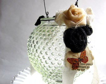 Vintage Glass Hanging Candle Holder with Black and Peach Rosettes
