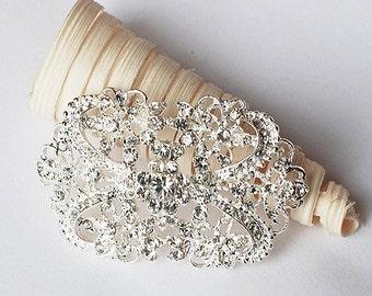 Rhinestone Brooch Component Crystal Flower Bridal Hair Comb Shoe Clip Pin Wedding Cake Decoration Invitation BR095