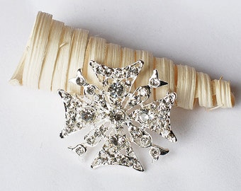 SALE Rhinestone Brooch Component Diamond Square Crystal Bridal Brooch Bouquet Hair Comb Wedding Cake Deco Invitation BR074