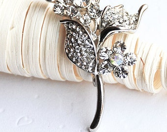 Rhinestone Brooch Component Crystal Flower Bridal Hair Comb Shoe Clip Pin Jewelry Wedding Cake Decoration Invitation BR023