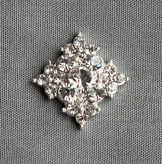 5 Rhinestone Button Diamond Square Crystal Silver for Hair Flower Comb Clip Wedding Invitation Ring Pillow BT023