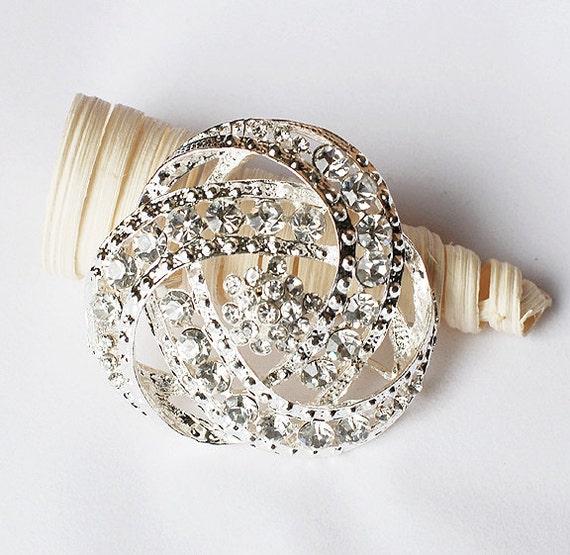 SALE Rhinestone Brooch Component Crystal Flower Bridal Hair Comb Shoe Clip Pin Wedding Cake Decoration Invitation BR080