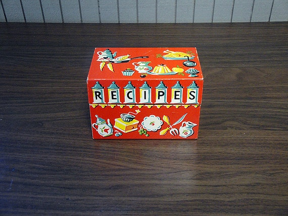 Colorful Metal Recipe Box with Contents