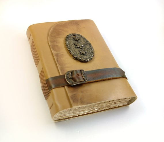 Wild West Leather Journal with Aged Old Paper - Vintage Style Mustard Leather Journal Notebook Diary