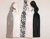 Elastic Hair Ties - Set of 5:  grey, white, damask, sparkly white, and black