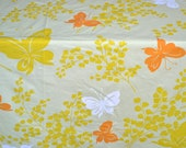 Vintage Bed Sheet - Orange Butterflies on Yellow - Twin Fitted